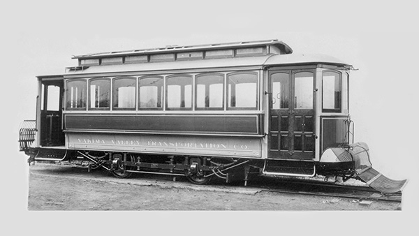 A historic photo of a YVT streetcar